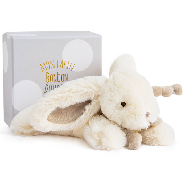 Coffret doudou lapin bonbon taupe 25 cm