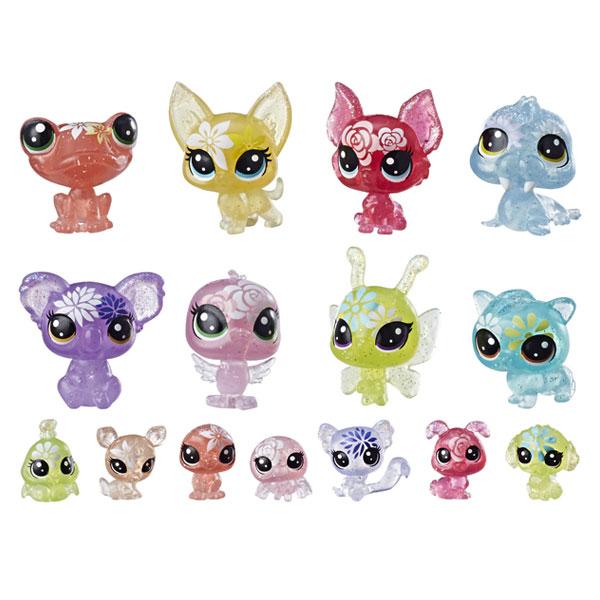 Littlest Pet Shop–Coffret de 16 Figurines Petshop-Collection Jardin Enchanté–8 Minis Petshop et 8 Teensies Petshop