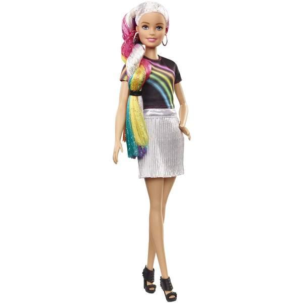 Barbie chevelure arc en ciel pailletée
