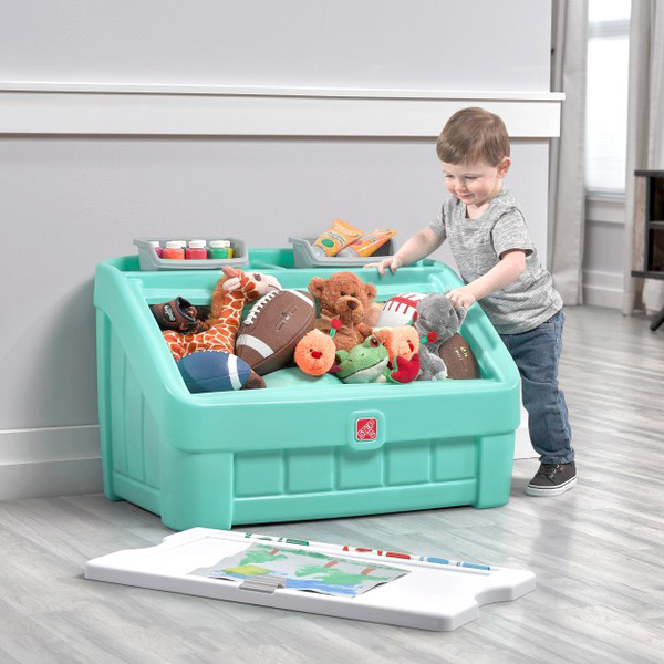 Coffre à jouets et table pour dessiner menthe