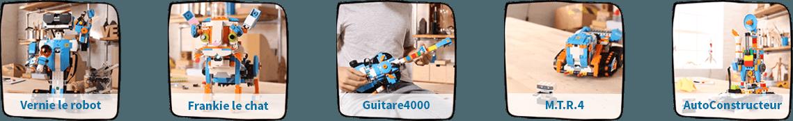 Cinq modèles différents a construire avec Lego Boost !