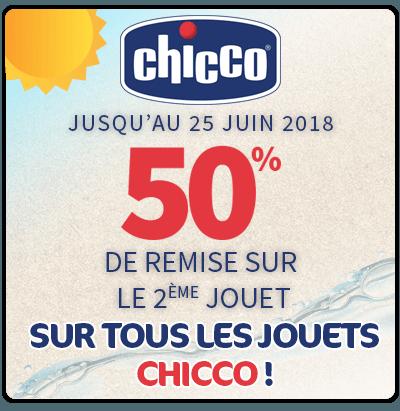 -50% sur le second jouet CHICCO !